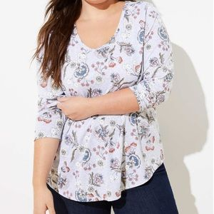 Icy Grey Floral Long Sleeve Shirttail Tee